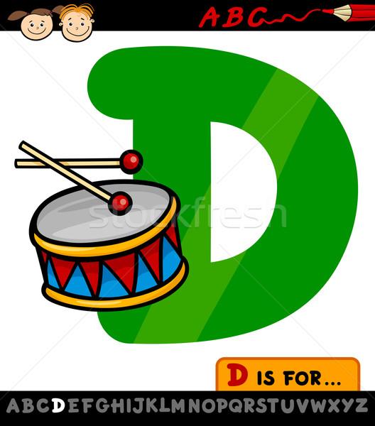 letter d with drum cartoon illustration Stock photo © izakowski