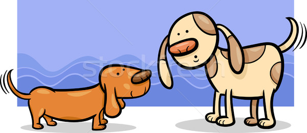 собаки Cartoon иллюстрация два смешные друзей Сток-фото © izakowski