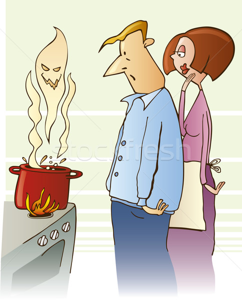 Shocked family boiling toxic soup Stock photo © izakowski