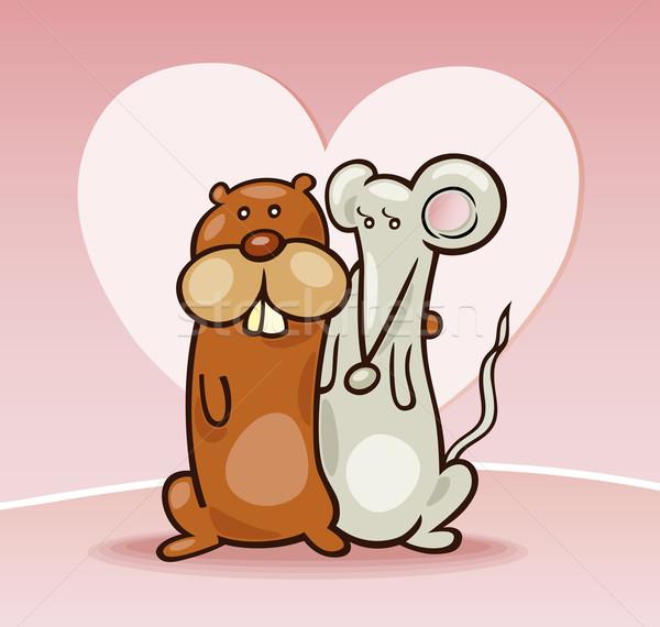 Hámster ratón amor Cartoon Pareja corazón Foto stock © izakowski