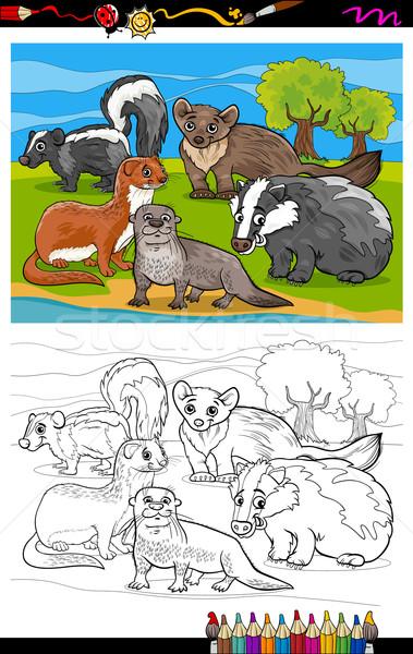 Dieren cartoon kleurboek pagina illustratie zwart wit Stockfoto © izakowski