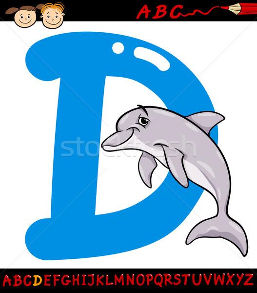 Litera d Delfin cartoon ilustracja alfabet Zdjęcia stock © izakowski