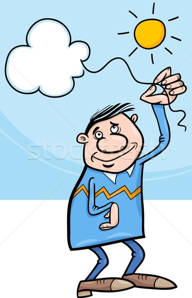 человека облаке строку Cartoon иллюстрация счастливым Сток-фото © izakowski