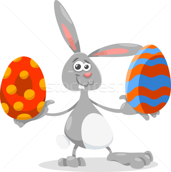 bunny and easter egg cartoon illustration Stock photo © izakowski