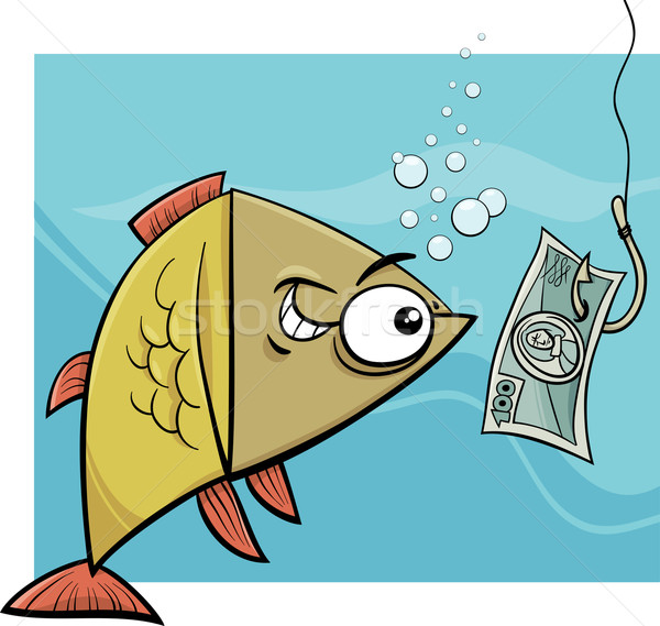 fishing with money cartoon illustration Stock photo © izakowski