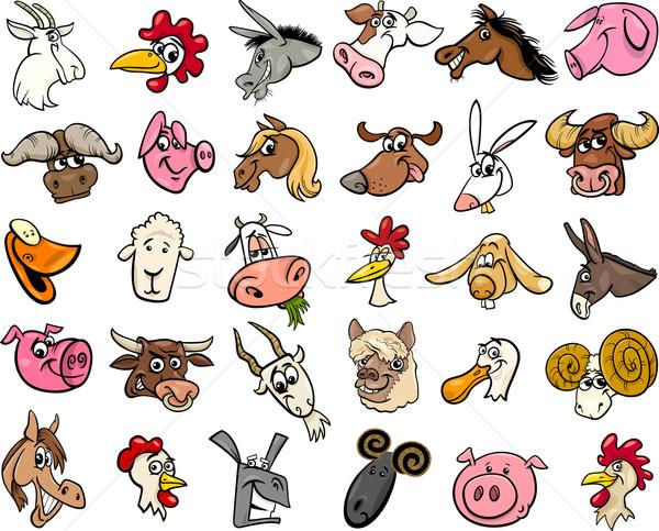 Boerderijdieren cartoon groot ingesteld illustratie grappig Stockfoto © izakowski