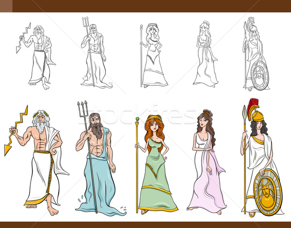 greek gods cartoon illustration Stock photo © izakowski