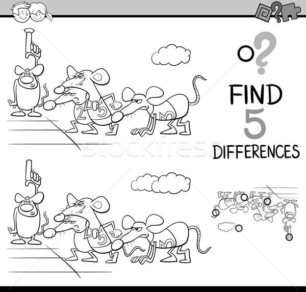 Verschillen activiteit kleurboek zwart wit cartoon illustratie Stockfoto © izakowski
