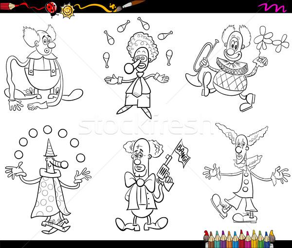 Cirkusz szett kifestőkönyv feketefehér rajz illusztráció Stock fotó © izakowski
