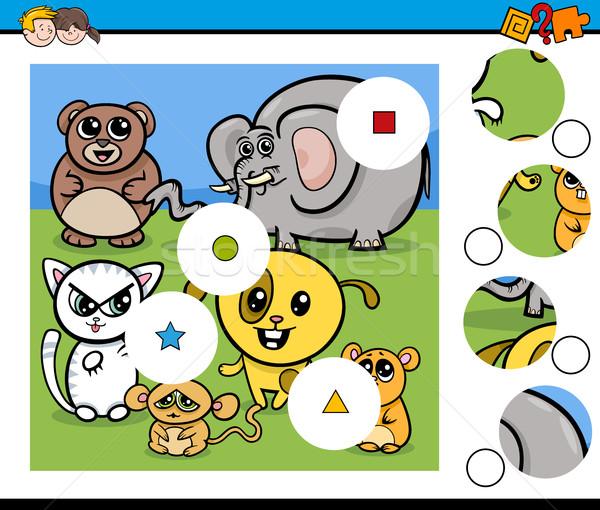 Wedstrijd stukken spel dieren cartoon illustratie Stockfoto © izakowski