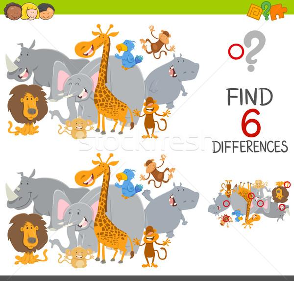 Bevinding verschillen spel kinderen cartoon illustratie Stockfoto © izakowski