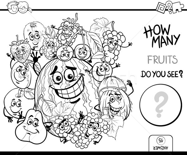 Stock photo: counting fruits coloring page