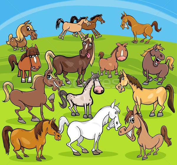 cartoon horses farm animals group Stock photo © izakowski