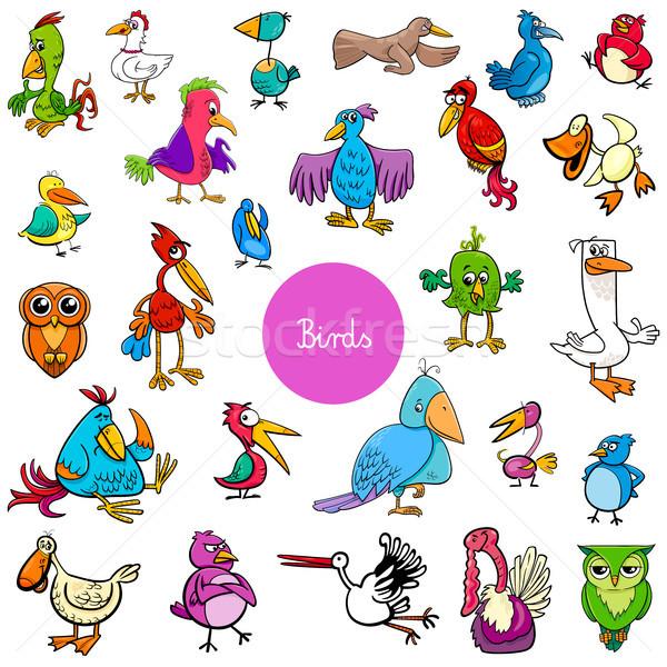 cartoon birds animal characters big collection Stock photo © izakowski