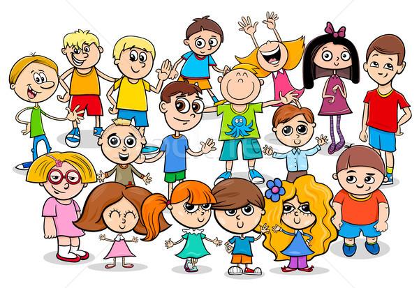 happy children cartoon characters group Stock photo © izakowski