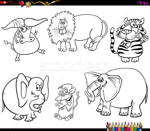 Set wildes Tier Zeichen Ausmalbuch schwarz weiß Karikatur Stock foto © izakowski