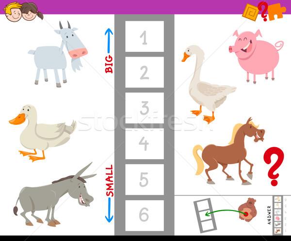 Educativo juego grande pequeño animales de granja Cartoon Foto stock © izakowski