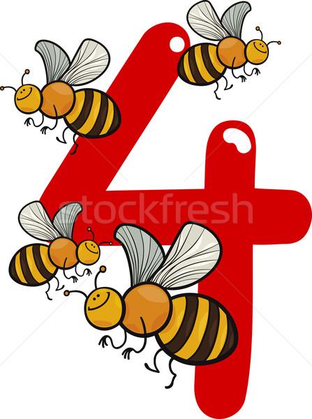 number four and 4 bees Stock photo © izakowski