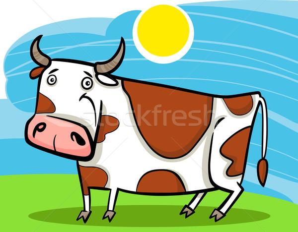 cartoon illustration of farm cow Stock photo © izakowski
