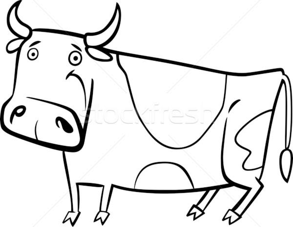 Karikatür örnek çiftlik Inek Sevimli Boyama Kitabı