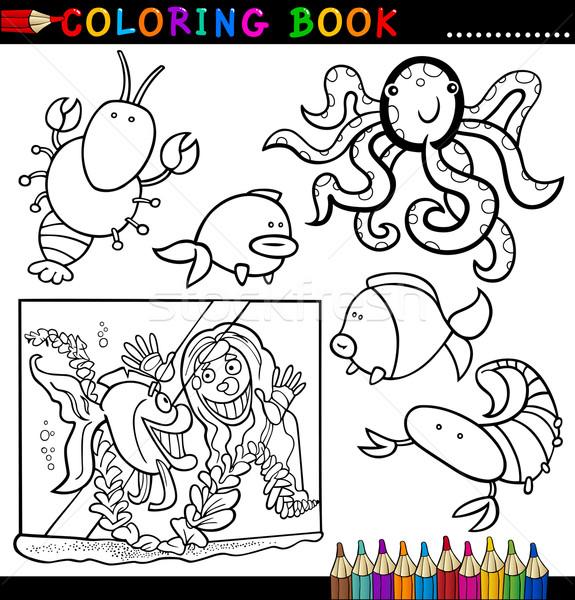 животные книжка-раскраска страница Cartoon иллюстрация смешные Сток-фото © izakowski