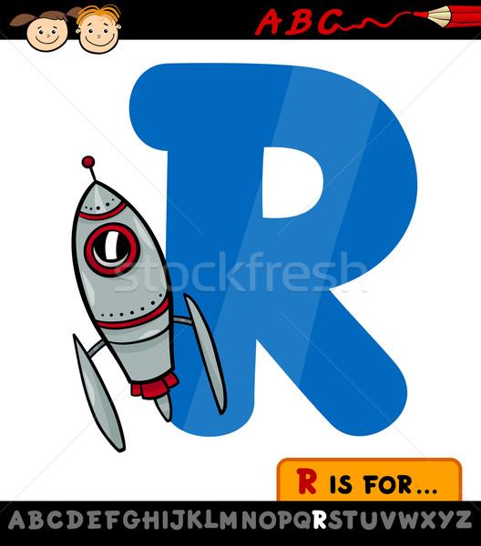 R betű rakéta rajz illusztráció nagybetű ábécé Stock fotó © izakowski