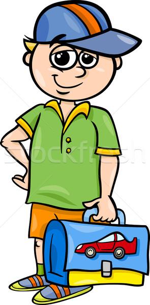 начальная школа студент Cartoon иллюстрация мальчика Сток-фото © izakowski