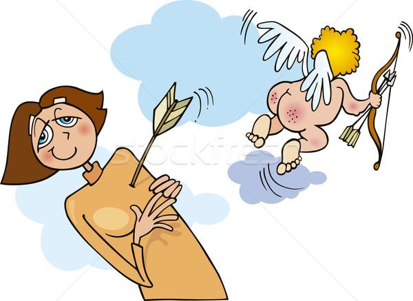 Mujer amor ilustración nina funny flecha Foto stock © izakowski