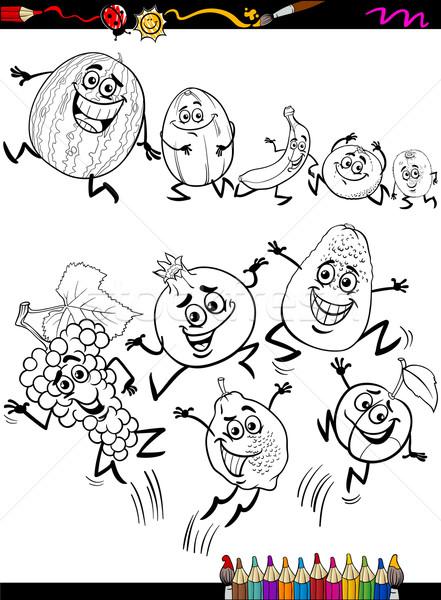 Komik Meyve Ayarlamak Karikatur Sayfa Boyama Kitabi