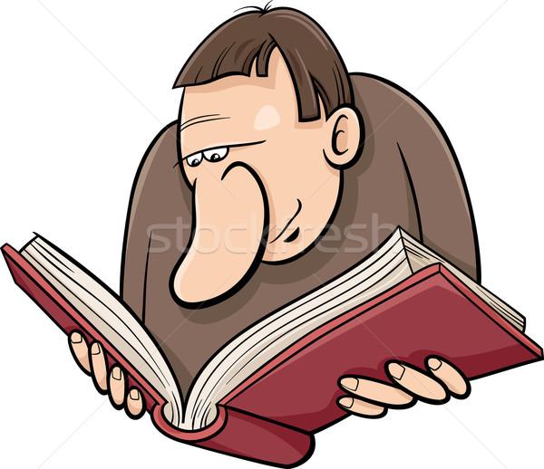 читатель книга Cartoon иллюстрация смешные рисунок Сток-фото © izakowski