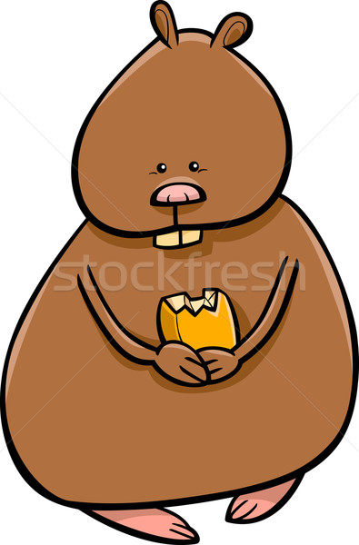 funny hamster cartoon illustration Stock photo © izakowski