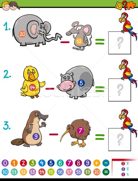 Odejmowanie gry dzieci cartoon ilustracja Zdjęcia stock © izakowski