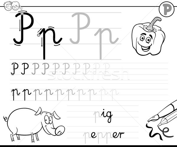 learn to write letter P workbook for kids Stock photo © izakowski