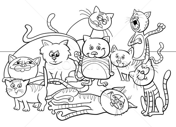 cats group cartoon illustration color book Stock photo © izakowski