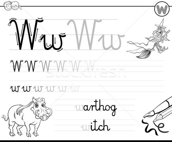Imparare scrivere lettera w cartella di lavoro ragazzi bianco nero Foto d'archivio © izakowski