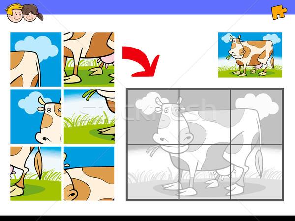 jigsaw puzzles with cow farm character Stock photo © izakowski