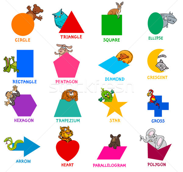 geometric shapes with animal characters set Stock photo © izakowski