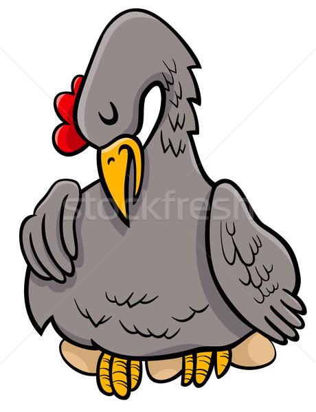 hen on eggs animal character cartoon illustration Stock photo © izakowski