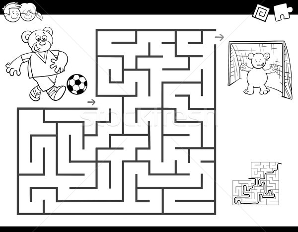 maze color book with bear playing soccer Stock photo © izakowski