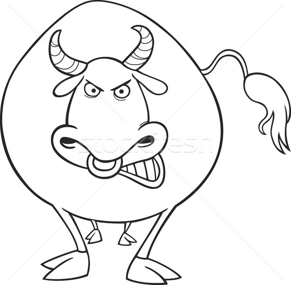 öfkeli Boğa Boyama Kitabı örnek Yaz çiftlik Vektör