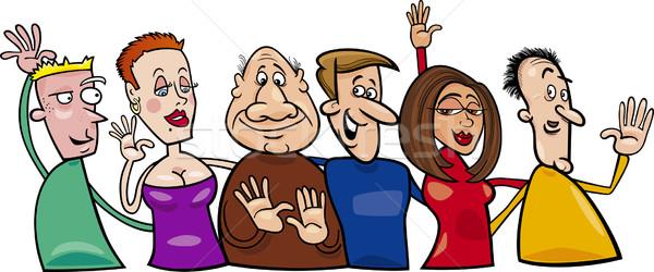 Groupe gens heureux cartoon illustration sourire Photo stock © izakowski