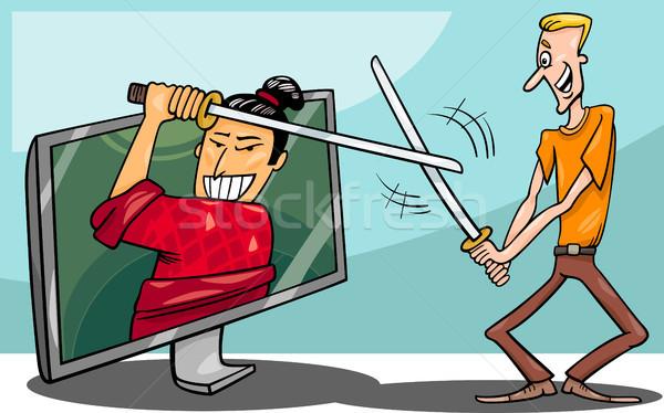 Rajz férfi interaktív televízió illusztráció vicces Stock fotó © izakowski