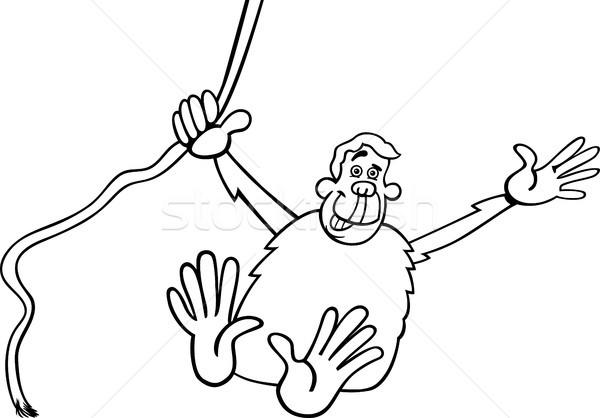 Csimpánz rajz illusztráció feketefehér vicces csimpánz Stock fotó © izakowski