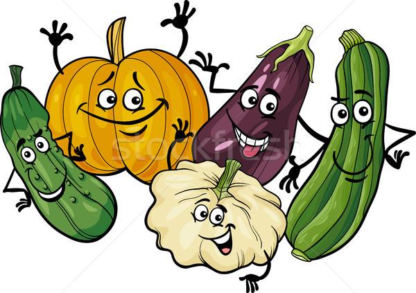 cucurbit vegetables group cartoon illustration Stock photo © izakowski