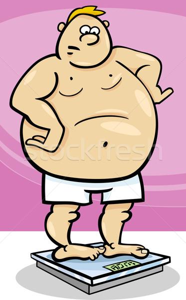 избыточный вес человека веса Cartoon иллюстрация дизайна Сток-фото © izakowski