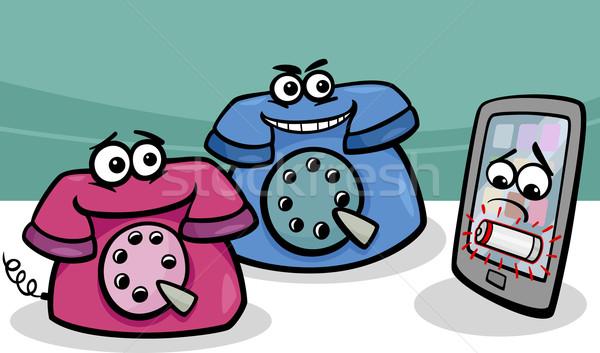smartphone with retro phones cartoon Stock photo © izakowski