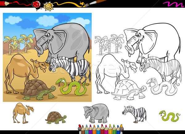 Safari dieren pagina ingesteld cartoon illustratie grappig Stockfoto © izakowski