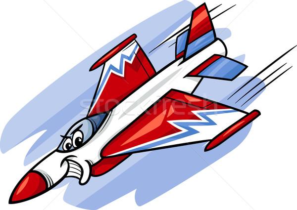 jet fighter plane cartoon illustration Stock photo © izakowski