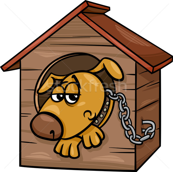 sad dog in kennel cartoon illustration Stock photo © izakowski
