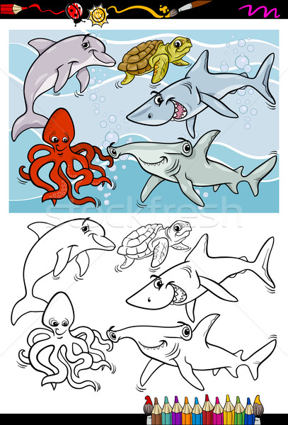 sea life animals cartoon coloring book Stock photo © izakowski